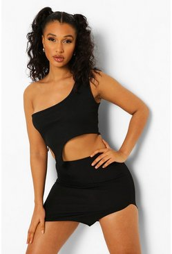 Black Bandage Split Hem Mini Skirt