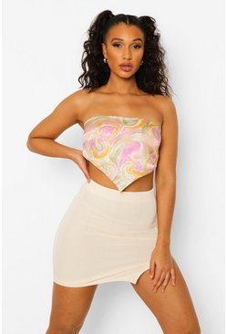Ecru white Bandage Split Hem Mini Skirt