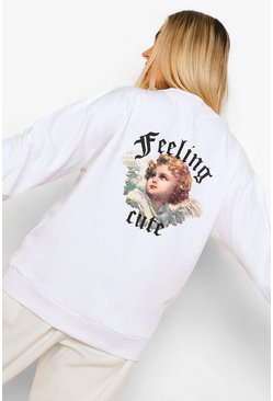 "White vit ""Feeling Cute"" Sweatshirt med tryck bak"