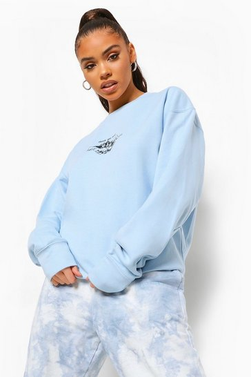 Pale blue blue Cherub Printed Oversized Overdyed Sweatshirt