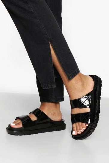 Black Patent Contrast Stitch Double Strap Sliders