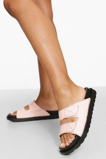 Pink Patent Contrast Stitch Double Strap Sliders