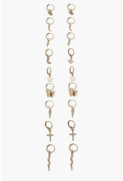 Gold metallic Charm Earring Pack