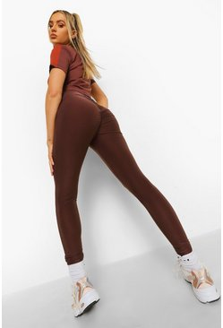 Chocolate Ruched Bum Booty Boosting Gym Leggings