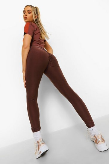 Chocolate brown Ruched Bum Booty Boosting Gym Leggings
