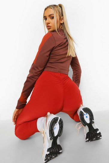Rust orange Ruched Bum Booty Boosting Gym Leggings