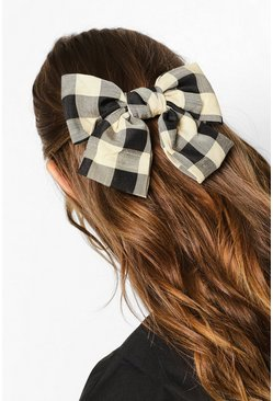 Black Chunky Gingham Bow Clip