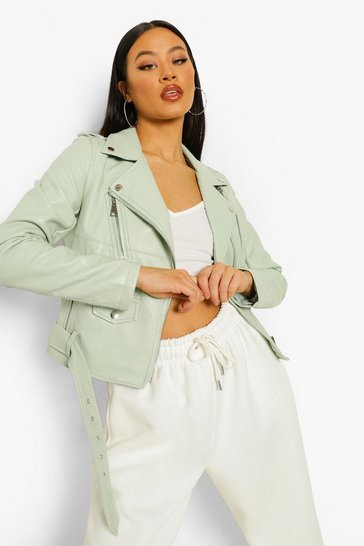 Pale green green Faux Leather Belted Biker Jacket