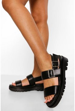 Black Double Buckle Sporty Dad Sandal