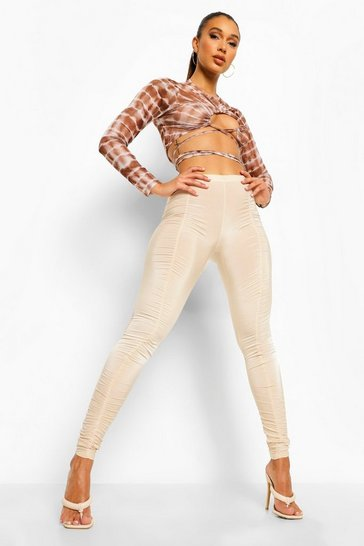 Stone beige Ruched Disco Leggings