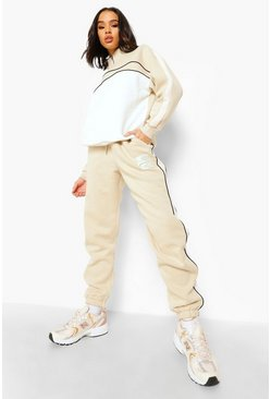 Stone beige Woman Funnel Neck Colour Block Tracksuit
