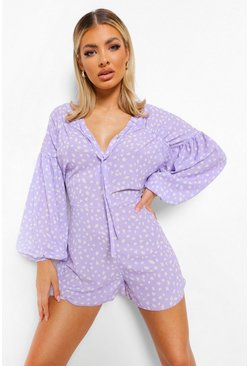 Lilac purple Dalmation Print Tie Neck Playsuit