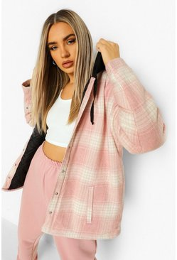 Lilac purple Padded Check Shacket