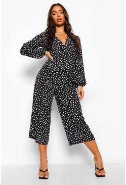 Black Dalmation Print Wide Leg Jumpsuit