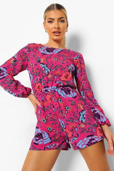 Hot pink pink Floral Print Baloon Sleeve Playsuit