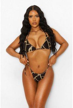 Black Chain Print Asymmetric Tie Side Bikini Brief