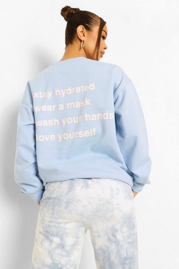 Pale blue blue Back Print Self Care Sweatshirt