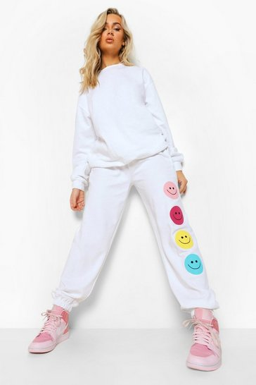 White Multi Graffiti Face Sweater Tracksuit