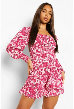 Hot pink pink Floral Shirred Puff Sleeeve Playsuit