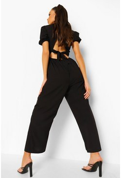Black Puff Sleeve Tie Back Culloutte Jumpsuit