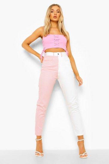 Ecru white Tonal Spliced Mom Jeans