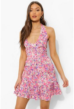 Pink Floral Ruffle Front Skater Dress