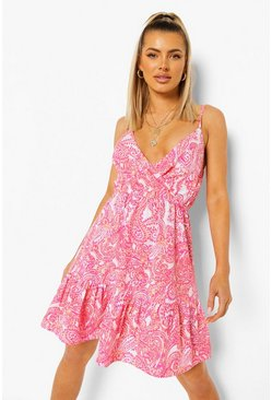 Pink rosa Paisley Print Strappy Wrap Swing Dress