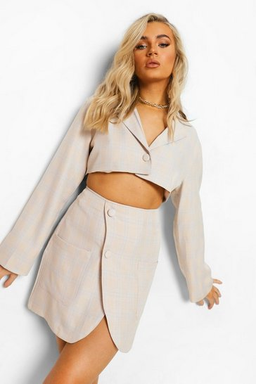 Sand beige Checked Flare Sleeve Crop Blazer
