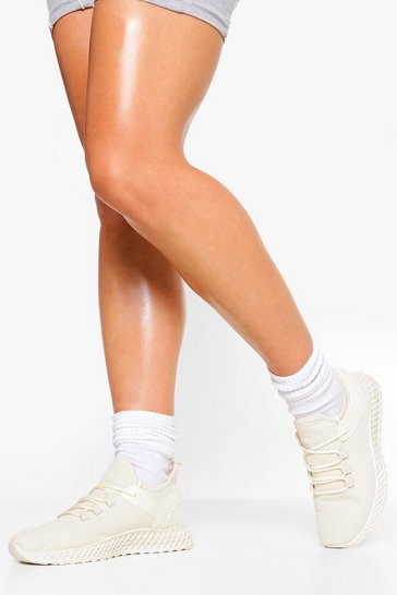 Beige Lace Up Knitted Trainer