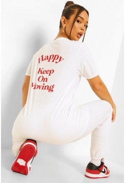 White Happy Back Print T Shirt