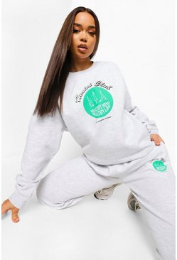 Ash grey Health Club Print Tracksuit