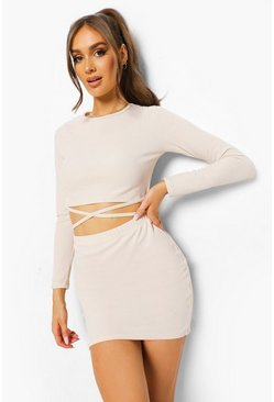 Ecru white Crinkle Rib Tie Detail Top & Mini Skirt