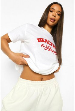 White Happy & Healthy T Shirt