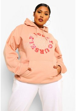 Dusky pink pink Plus Love Yourself Hoodie