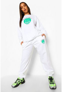 Health Club Print Tracksuit, White weiß
