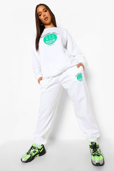 White Health Club Print Tracksuit