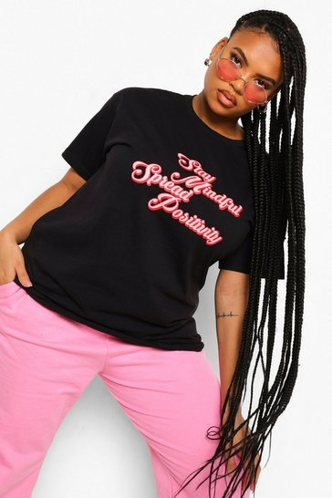 Black Plus Spread Positivity T-shirt