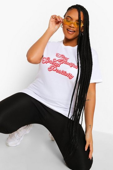 White Plus Spread Positivity T-shirt