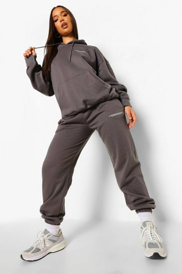Charcoal grey Slogan Print Hooded Tracksuit