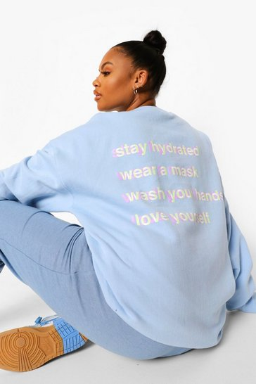 Pale blue blue Plus Back Print Self Care Sweatshirt