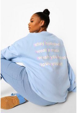 Pale blue blue Plus Self Care Sweater Met Rugopdruk