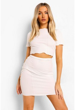 Ecru white Crinkle Rib Exposed Seam Top & Mini Skirt