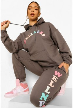 Wellness Print Tracksuit, Charcoal gris