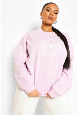 Lilac purple Plus Spread Love Sweatshirt