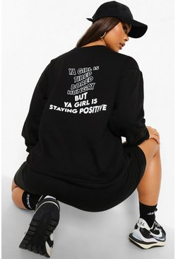 Black Staying Positive Back Print Sweatshirt
