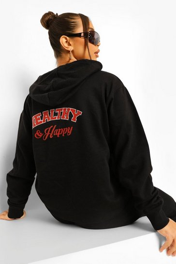Black Healthy And Happy Back Print  Hoodie