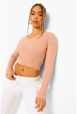 Blush pink Rib Knit Crop Jumper