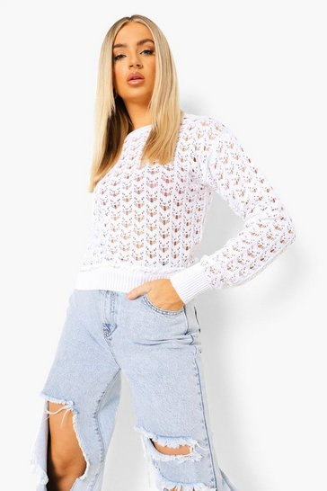 White Pointelle Jumper