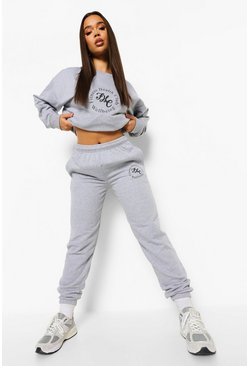 Grey marl grey Health Club Print Sweater Tracksuit
