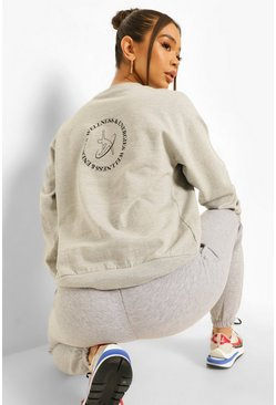 Wellness Back Print Sweatshirt , Grey marl gris